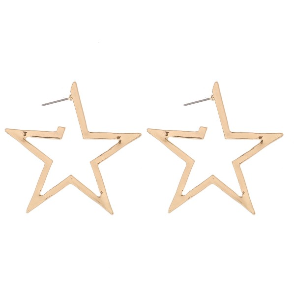 Flat Star Hoop Earrings.  - Approximately 1.5""