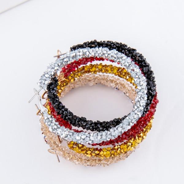 """Rhinestone Hoop Earrings.  - Approximately 1.75"""" in diameter"""