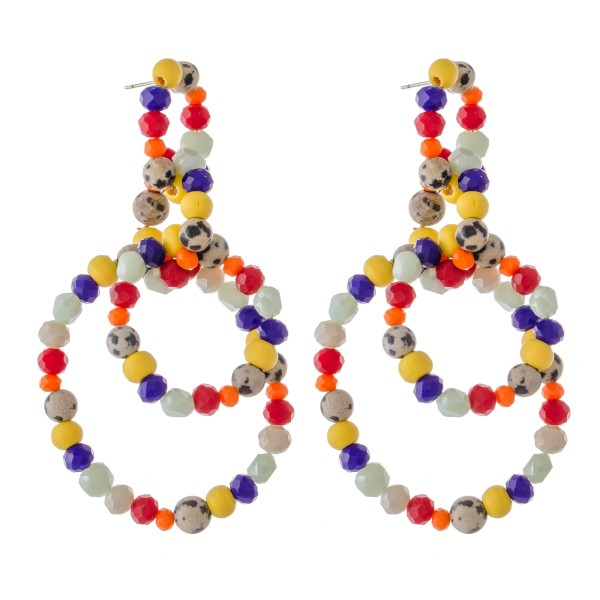"Multicolor Beaded Statement Drop Earrings with Natural Stone Details.  - Approximately 3"" L"