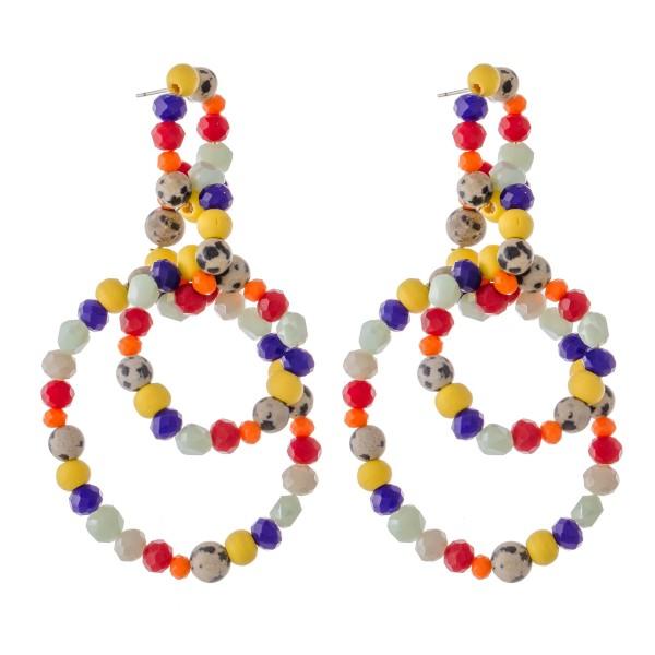 Wholesale multicolor Beaded Statement Drop Earrings Natural Stone Details L