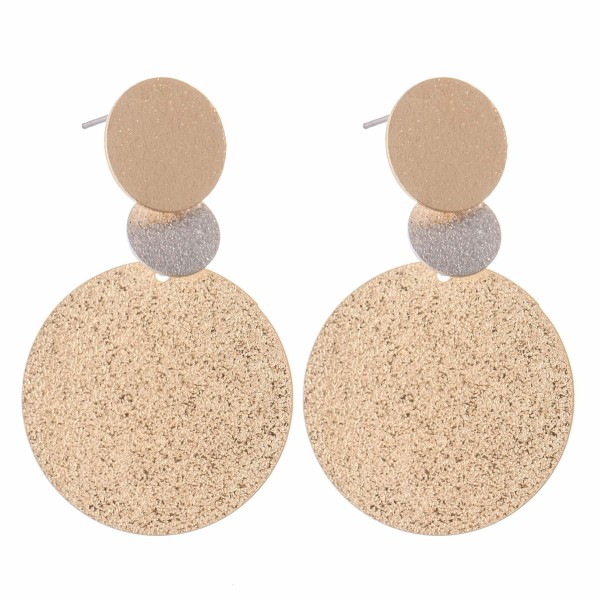 """Two Tone Crinkle Texture Drop Earrings.  - Approximately 1.5"""" L"""