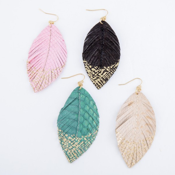 """Animal Print Feather Drop Earrings with Gold Metallic Detail.  - Approximately 3"""" L"""