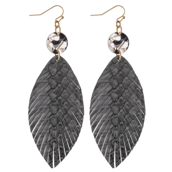 "Animal Print Feather Drop Earrings with Resin Accent.  - Approximately 3.5"" L"