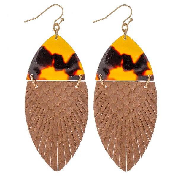 """Resin Link Animal Print Feather Drop Earrings.  - Approximately 3"""" L"""