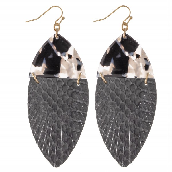 "Resin Link Animal Print Feather Drop Earrings.  - Approximately 3"" L"