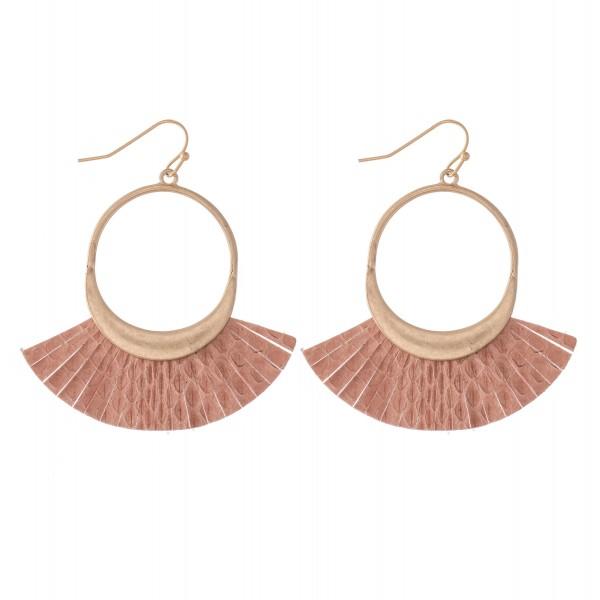 "Faux Leather Animal Print Tassel Drop Earrings.  - Approximately 2"" L"