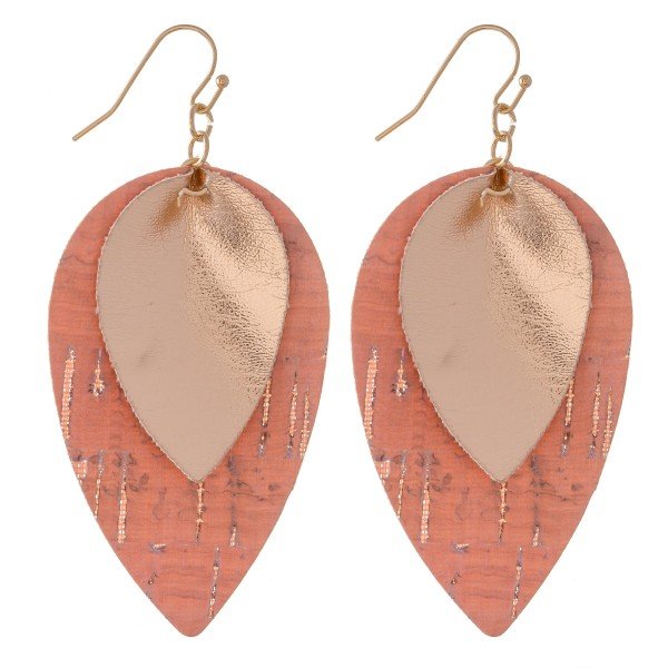 "Inverted Metallic Layered Cork Teardrop Earrings.  - Approximately 2.5"" L"