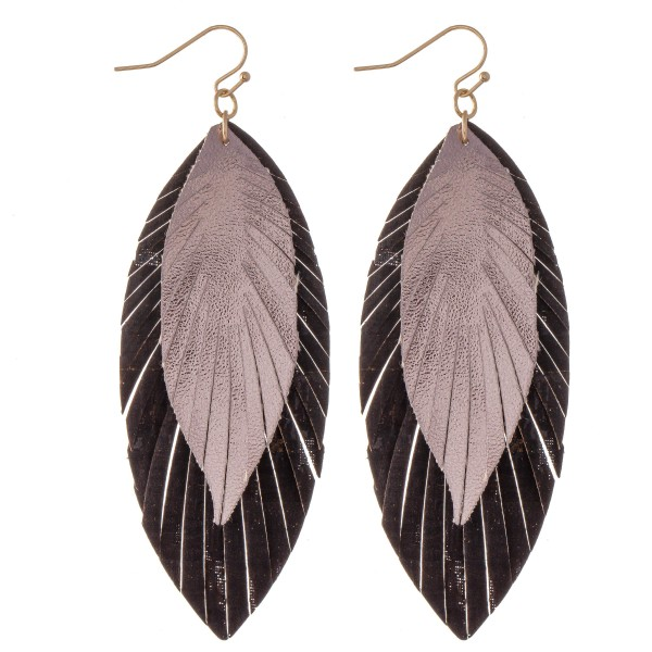 """Metallic Layered Cork Feather Drop Earrings.  - Approximately 3.5"""" L"""