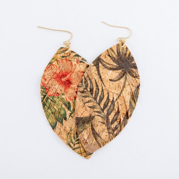"""Tropical Cork Feather Drop Earrings.  - Approximately 3"""" L"""