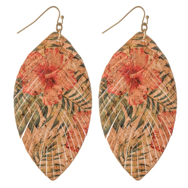 """Tropical Hibiscus Cork Feather Drop Earrings.  - Approximately 3"""" L"""
