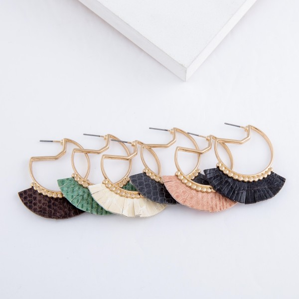 """Gold Geometric Earrings with Faux Leather Animal Print Tassel Detail.  - Approximately 1.75"""" L"""