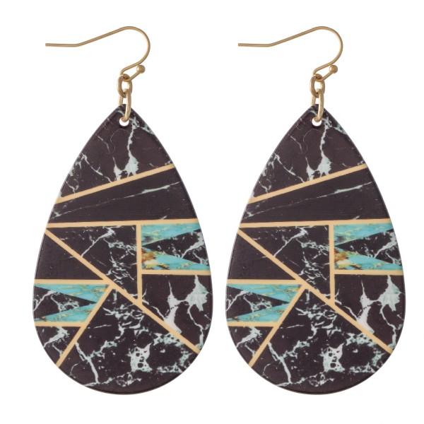 """Retro Geometric Teardrop Earrings.  - Approximately 2.5"""" L"""