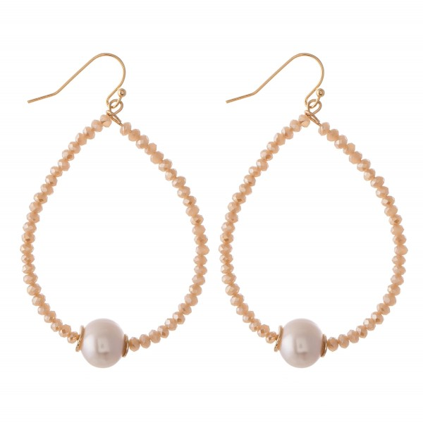 "Faceted Beaded Teardrop Earrings Featuring A Pearl Detail.  - Approximately 2.75"" L"