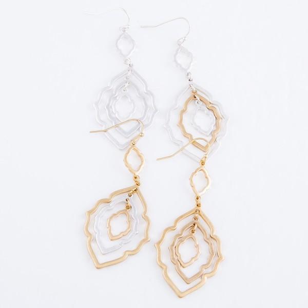 "Moroccan Linked Drop Earrings in Worn Silver.  -  Approximately 2.75"" L"