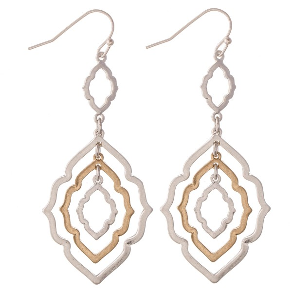 "Two Tone Moroccan Linked Drop Earrings.  -  Approximately 2.75"" L"