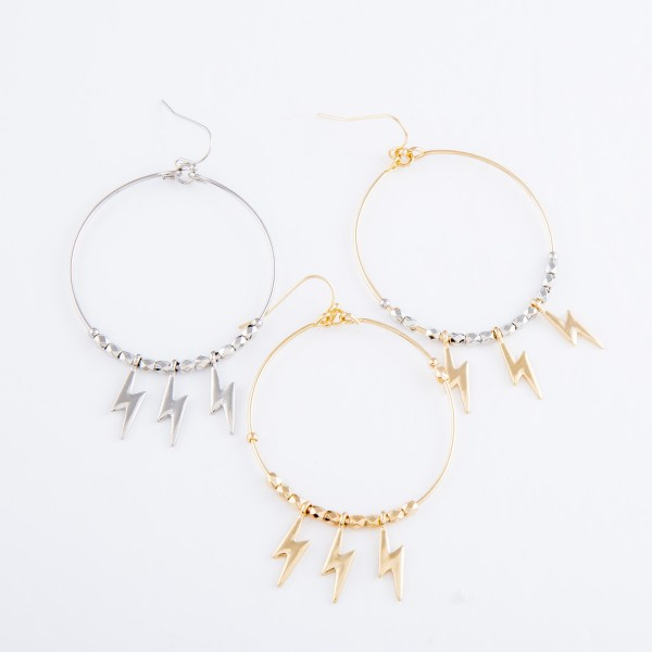 """Two Tone Plated Brass Beaded Drop Earrings Featuring Lightning Bolt Accents.  - Approximately 3"""" L  - Approximately 1.75"""" in diameter"""