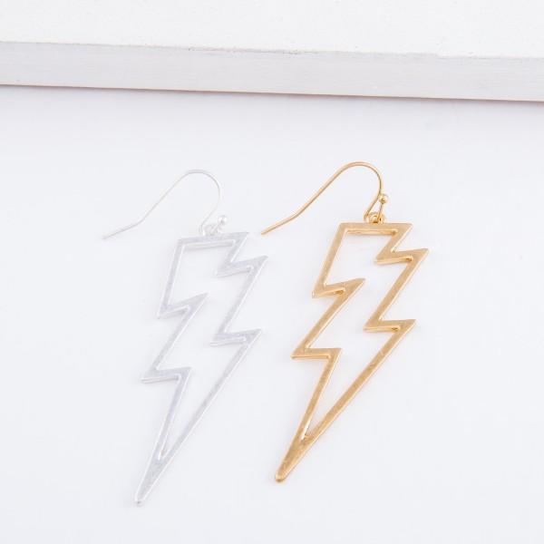 "Lighting Bolt Drop Earrings.  - Approximately 2.5"" L"