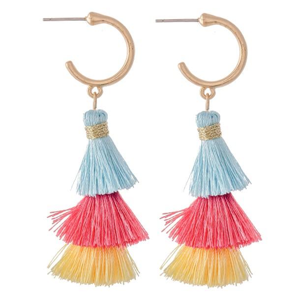 """Multi Tone Tassel Tiered Huggie Hoop Earrings.  - Approximately 2.25"""" L"""