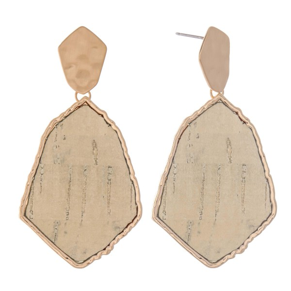 "Metal Encased Hammered Cork Drop Earrings.  - Approximately 2.25"" L"