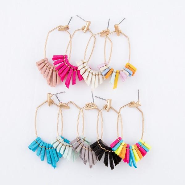 """Faux Leather Tassel Drop Earrings in Gold.  - Approximately 2"""" L"""