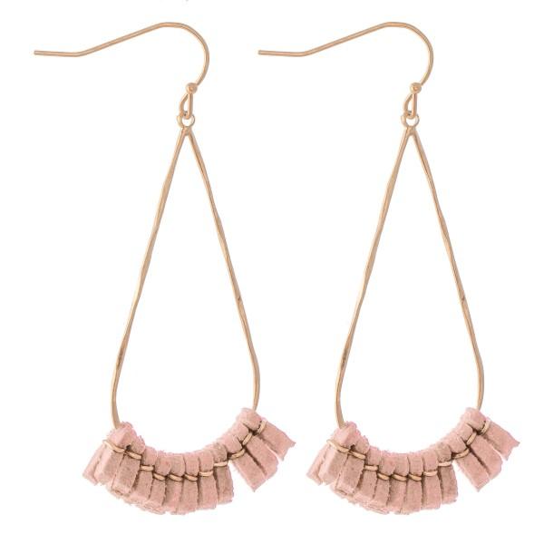 """Faux Leather Teardrop Earrings in Gold.  - Approximately 2.25"""" L"""