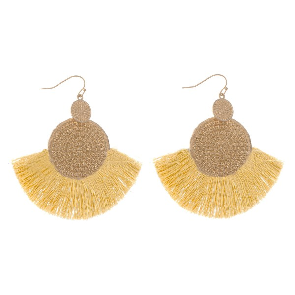 "Gold Woven Thread Tassel Drop Earrings.  - Approximately 3"" L  - Approximately 2.75"" W"
