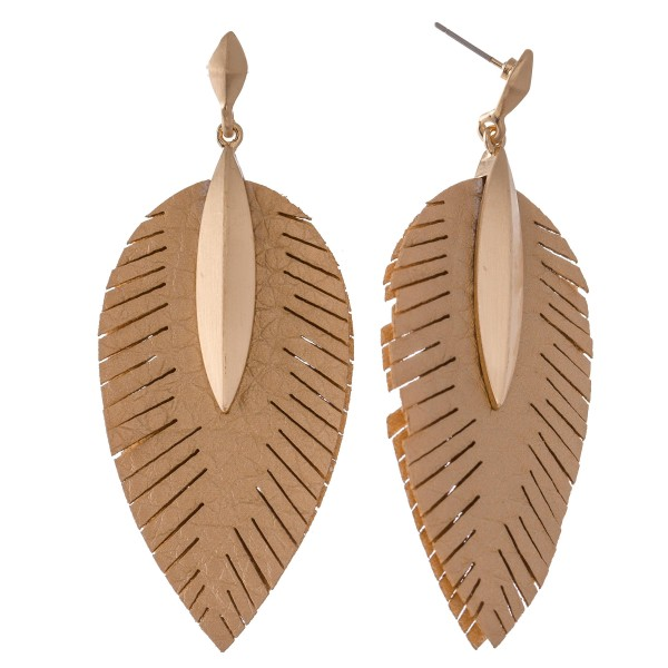 "Faux Leather Leaf Drop Earrings Featuring Gold Accent.  - Approximately 2.75"" L"