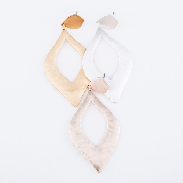 "Hammered Moroccan Cut Statement Drop Earrings in a Satin Finish.  - Approximately 3"" L"