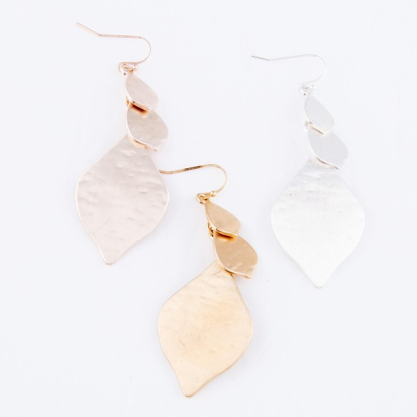 "Hammered Moroccan Tiered Drop Earrings in a Satin Finish.  - Approximately 2.5"" L"