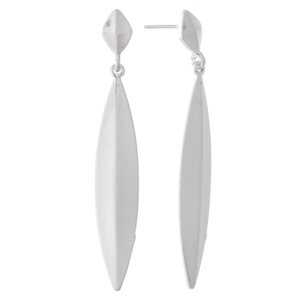 "Simple Leaf Drop Earrings in a Satin Finish.  - Approximately 2.25"" L"