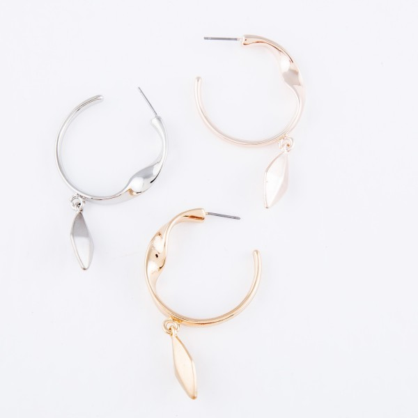 "Hoo Earrings Featuring Twisted Detail & Rhombus Drop Accent.  - Approximately 2"" L  - Hoop Diameter 1.5""  - Rhombus .75"""