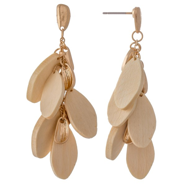 Wholesale oval Wood Tiered Drop Earrings L