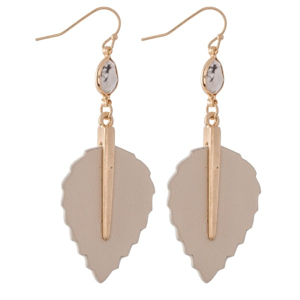 "Faux Leather Leaf Drop Earrings Featuring Semi Precious Stone Accent.  - Approximately 2.25"" L"