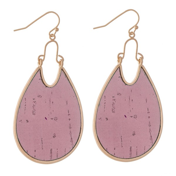 "Metal Encased Cork Teardrop Earrings.  - Approximately 2.5"" L"
