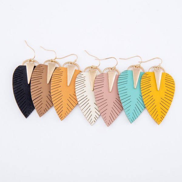 "Faux Leather Leaf Drop Earrings Featuring Gold Accent.  - Approximately 2.5"" L"