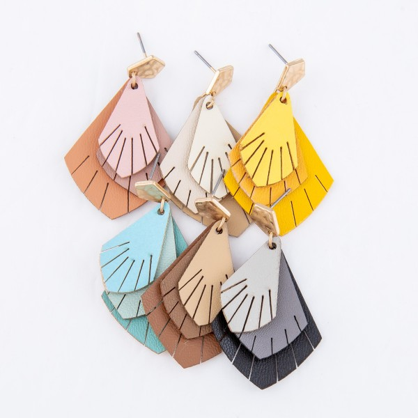 "Three Tone Layered Leaf Tassel Drop Earrings.  - Approximately 1.75"" L"