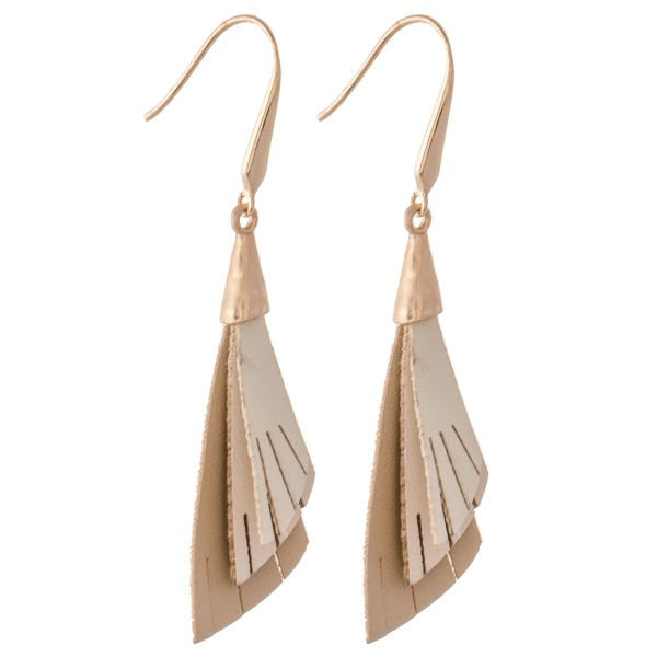 "Three Tone Layered Half Leaf Tassel Drop Earrings.  - Approximately 2.5"" L"
