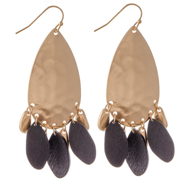 "Hammered Teardrop Statement Earrings Featuring Wood Accents.  - Approximately 2.5"" L"