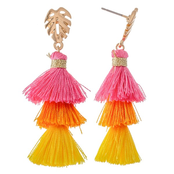 "Three Tone Tassel Tiered Drop Earrings Featuring Palm Leaf Accent.  - Approximately 2"" L"