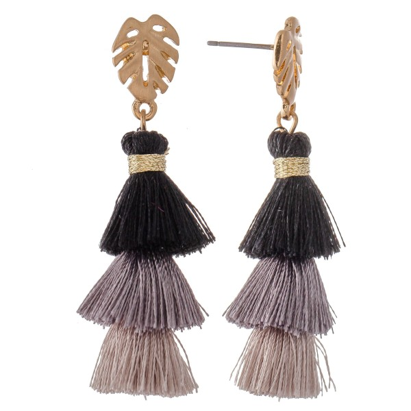 """Three Tone Tassel Tiered Drop Earrings Featuring Palm Leaf Accent.  - Approximately 2"""" L"""