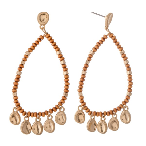 "Wood Beaded Teardrop Earring Featuring Gold Accents.  - Approximately 2.75"" L"
