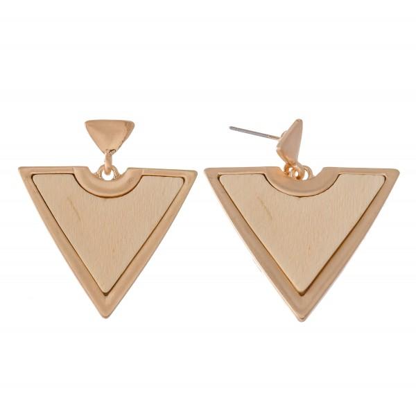 "Metal Encased Wooden Triangle Drop Earrings.  - Approximately 1.5"" L"