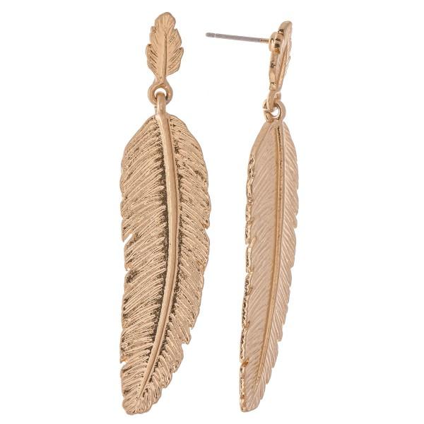 "Metal Boho Feather Drop Earrings.  - Approximately 2.25"" L"