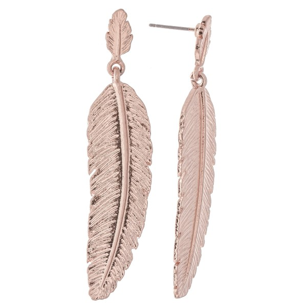 "Metal Boho Feather Drop Earrings.  - Approximately 2.25"" L"