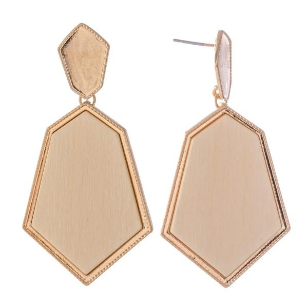 """Metal Encased Wooden Drop Earrings.  - Approximately 2.25"""" L"""