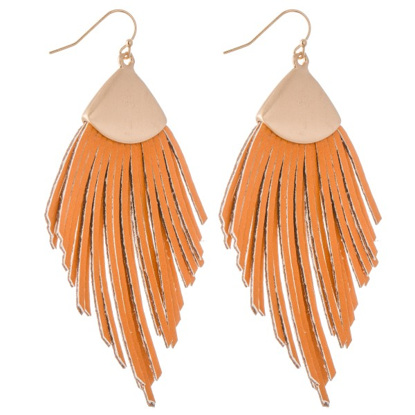 "Faux Leather Tassel Statement Drop Earrings.  - Approximately 3.5"" L"