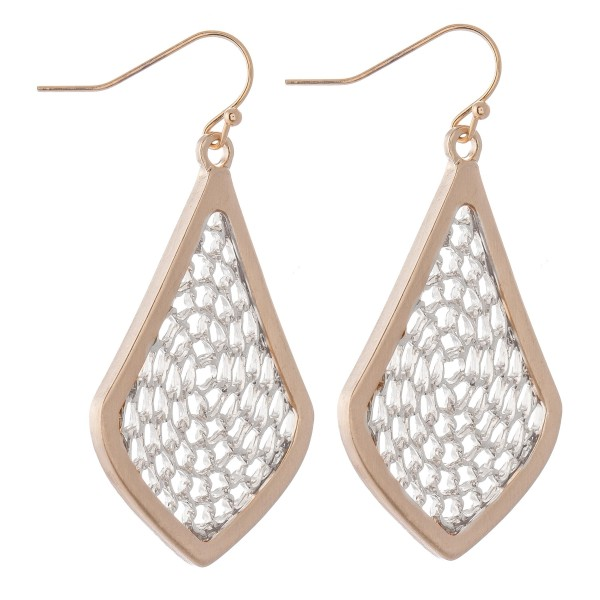 """Two Tone Chain Link Filigree Moroccan Drop Earrings in a Satin Finish.  - Approximately 1.75"""" L"""