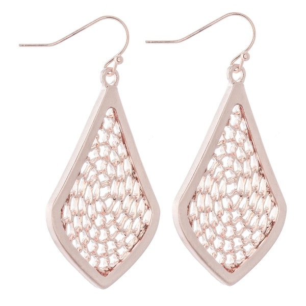 """Chain Link Filigree Moroccan Drop Earrings in a Satin Finish.  - Approximately 1.75"""" L"""