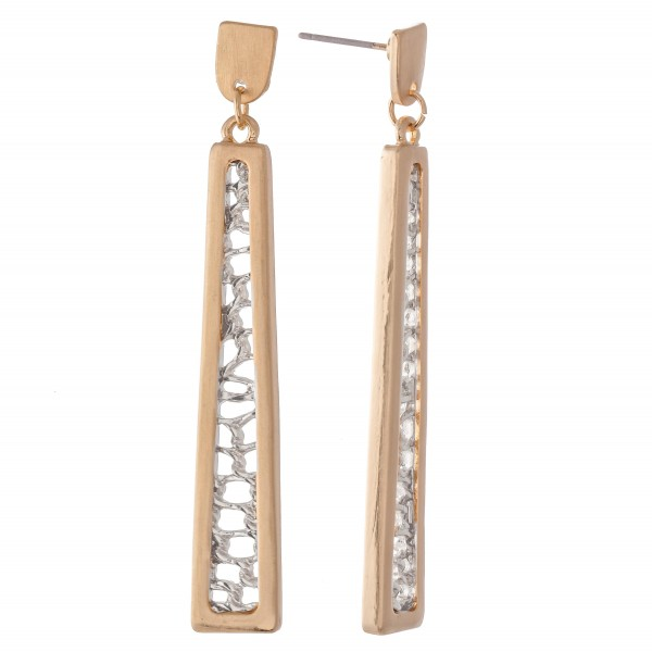 "Two Tone Filigree Bar Drop Earrings in a Satin Finish.  - Approximately 2.25"" L"