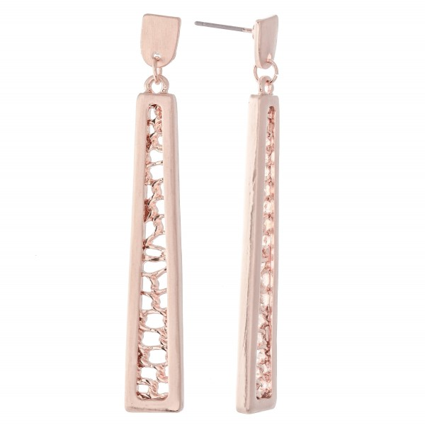 "Filigree Bar Drop Earrings in a Satin Finish.  - Approximately 2.25"" L"